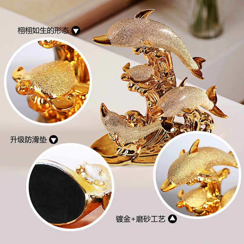 Fashionable Gold Dolphin Ceramic Handicraft Furnishing Articles Creative Gold-plated Dolphin Family