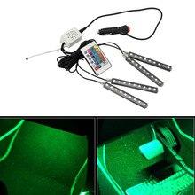4 шт./компл. 9 светодиодный RGB Цвет изменение интерьер автомобиля декоративный свет Автомобильные атмосфере полосы лампа для стилизации автомобильного пульта контроллер