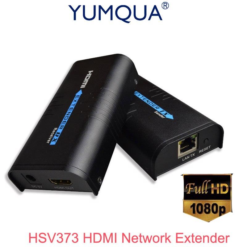 YUMQUA HDMI Extender Over IP/TCP UTP/STP CAT5e/6 Rj45 LAN Network 1080p 120m Extension Like HDMI Splitter Transmitter Receiver
