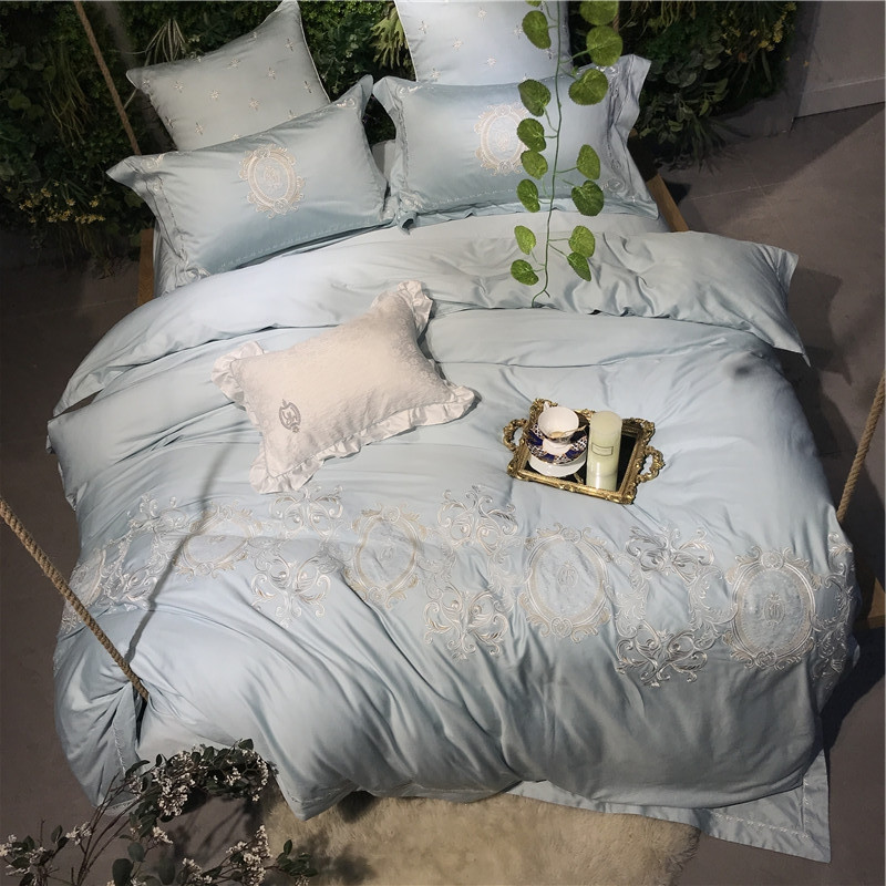 Egyptian Cotton Pink Blue Bedding Set Lace Embroidery Duvet Cover Bed Set Queen king size Bed