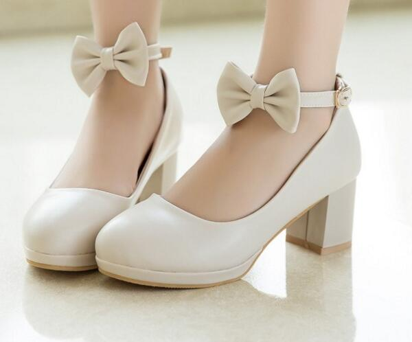 Nupcial Altos Apricot pink Moda Mujeres white Bombas Señoras Zapatos Chunky Sapato Dulces Tacones P170443 Elegantes Feminino Mujer axS7X