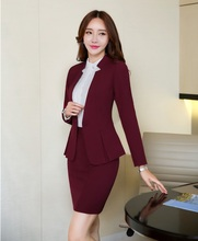 AidenRoy Formal Office Uniform Designs Women Business Suits Skirt and Jacket Sets Ladies Wine Red Blazer Elegant