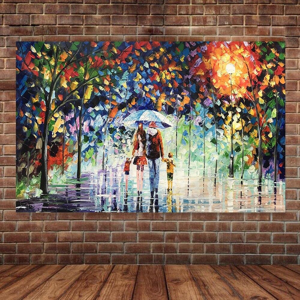 Большой расписанный вручную любовник дождь уличное дерево лампа пейзаж картина маслом на холсте настенные художественные настенные картины для гостиной домашний декор - Цвет: HY142214