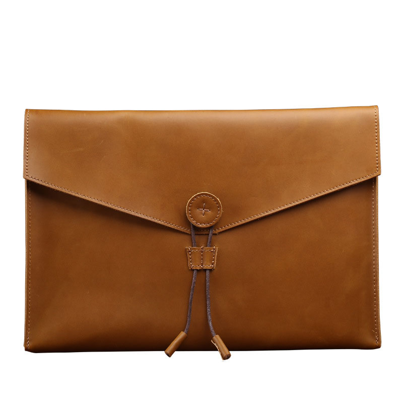 A4 Leather Folder Nature Genuine Leather Document Bag Business A4 Paper Bag Document Organizer Office School Supplies