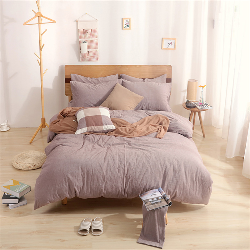 Modern style bedding 100% bean paste color solid color cotton fabric home textiles 4Pcs duvet cover  fitted sheet  pillowcases Modern style bedding 100% bean paste color solid color cotton fabric home textiles 4Pcs duvet cover  fitted sheet  pillowcases