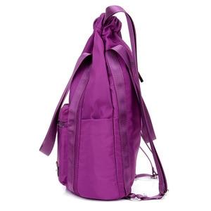 Image 3 - Women Nylon Backpacks Fashion Ladies Casual Drawstring Rucksack Multifunction Shoulder Bag Teenager Girls Travel Schoolbag