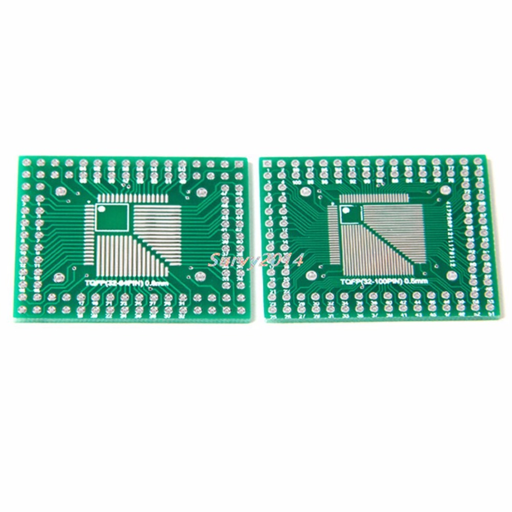 5 Pcs QFP/TQFP/FQFP/LQFP 32/44/64/80/100 To DIP Adapter PCB Board Converter freeshipping htqfp qfn48 to 0 5 mm dip48 qfn44 qfp48 qfp44 pqfp lqfp adapter plate
