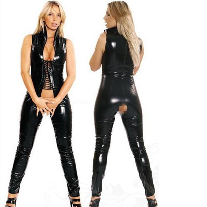 Buy Sexy Women leotard Open Crotch bodysuit Erotic Fetish Catsuit open bust women vinyl faux leather open ass