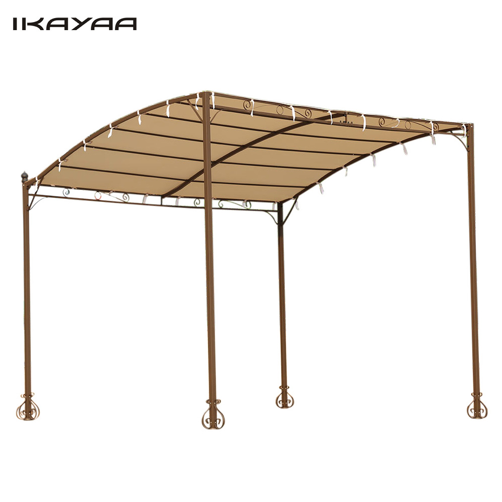 IKayaa US UK FR Stock Metal Patio Garden Wall Gazebo For Garden Canopy Door  Porch Marquee Sun Shelter 160g Roof 3*2.5*2.5M