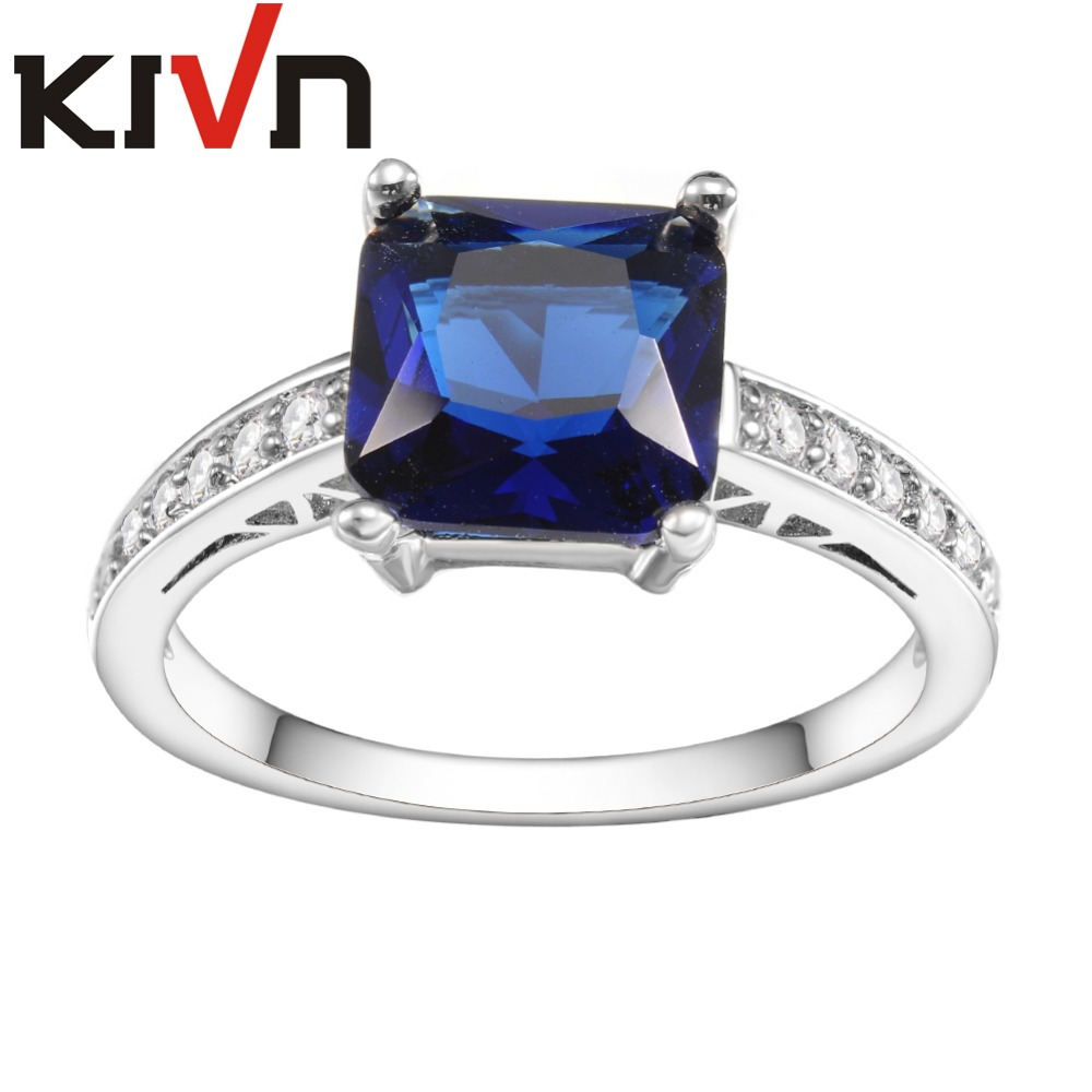 KIVN Fashion Jewelry Blue CZ Cubic Zirconia Bridal Engagement Rings for Women Promotional Mothers Day Birthday