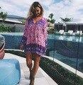 Summer Women Dress Wrist Sleeve V Neck Sexy Dress Female Hollow Out Loose Holiday Dress 2017 Bohemian Beach Dress