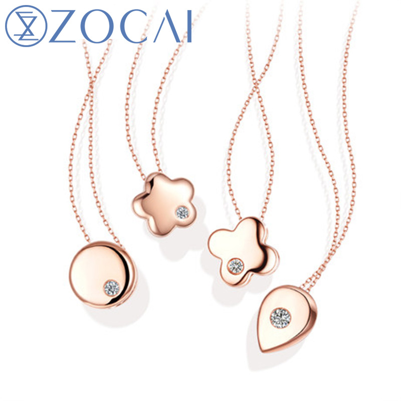 ZOCAI New Arrival 0.01 CT Certified H / SI Diamond Pendant 18K rose Gold (Au750) with 925 Silver Chain Necklace JBD00381 zocai brand wedding necklace real gia certificated 0 35 ct fancy intense yellow diamond 18k white gold pendant 925 silver chain