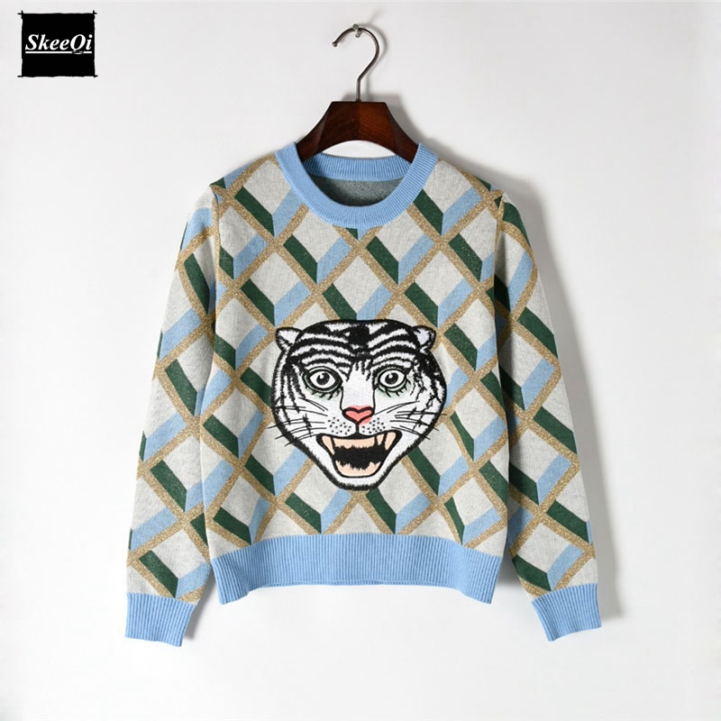 2018 New Fashion Sweater Female Pullovers Plaid Embroidery Tiger Pattern Knitted Sweaters Pullover Runway Designer Tops Jumper