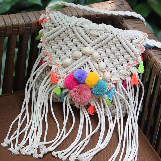 Sweet Bohemia Long Fringed Crochet Straw Bag Woven Beach Bags Women Summer 2018 Pompon White Long Tassel Shoulder Crossbody Bag