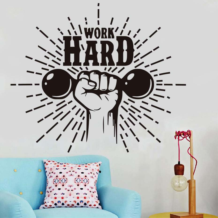 Home Gym Motivational Wall Decal Quote Work Hard Wall Decor Gym Fitness Vinyl Wall Stickers Waterproof Adhesive Art Design