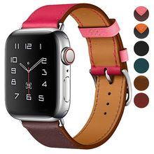 Correa de cuero genuino para Apple Watch Band 42mm Series 5 4 3 2 todas las versiones accesorios correa de 44mm 38mm reemplazo de pulsera 40mm(China)