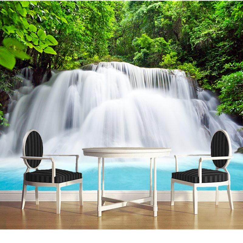 Custom natural landscape wallpaper. Waterfalls, 3D Photo Mural for Living Room Bedroom Dining Room Backdrop PVC Wallpaper custom green forest trees natural landscape mural for living room bedroom tv backdrop of modern 3d vinyl wallpaper murals