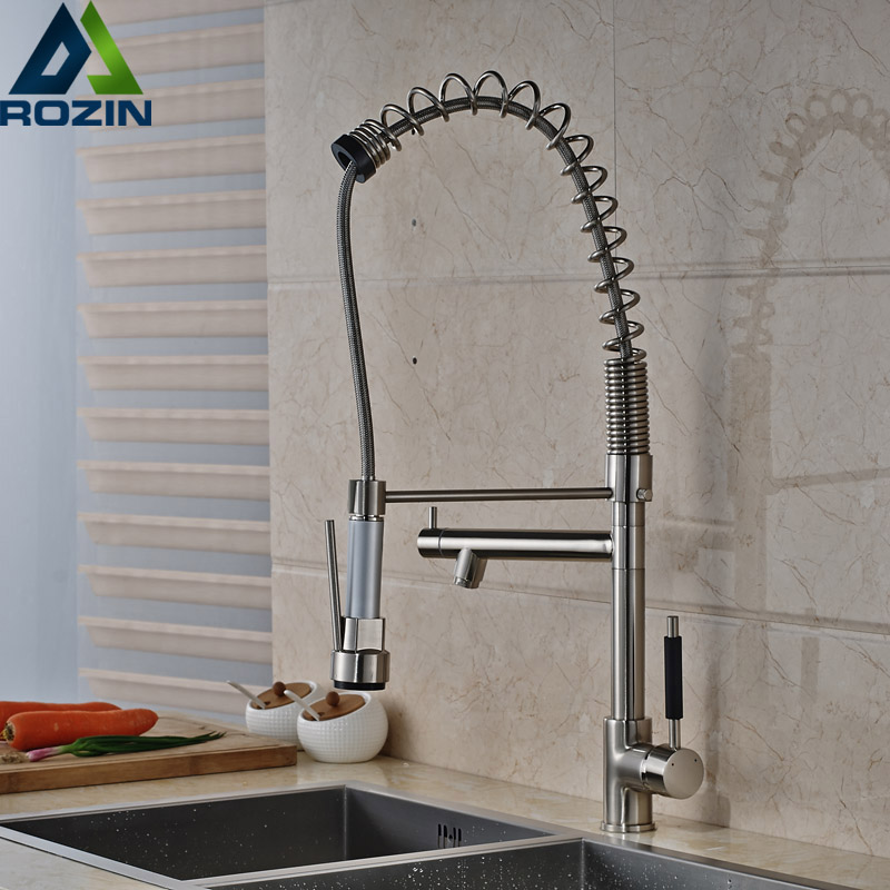 Heighten Brushed Nickel Kitchen Sink Faucet Deck Mounted Two Swivel Spout hand held Kitchen Mixer Taps Pull Down Cranes