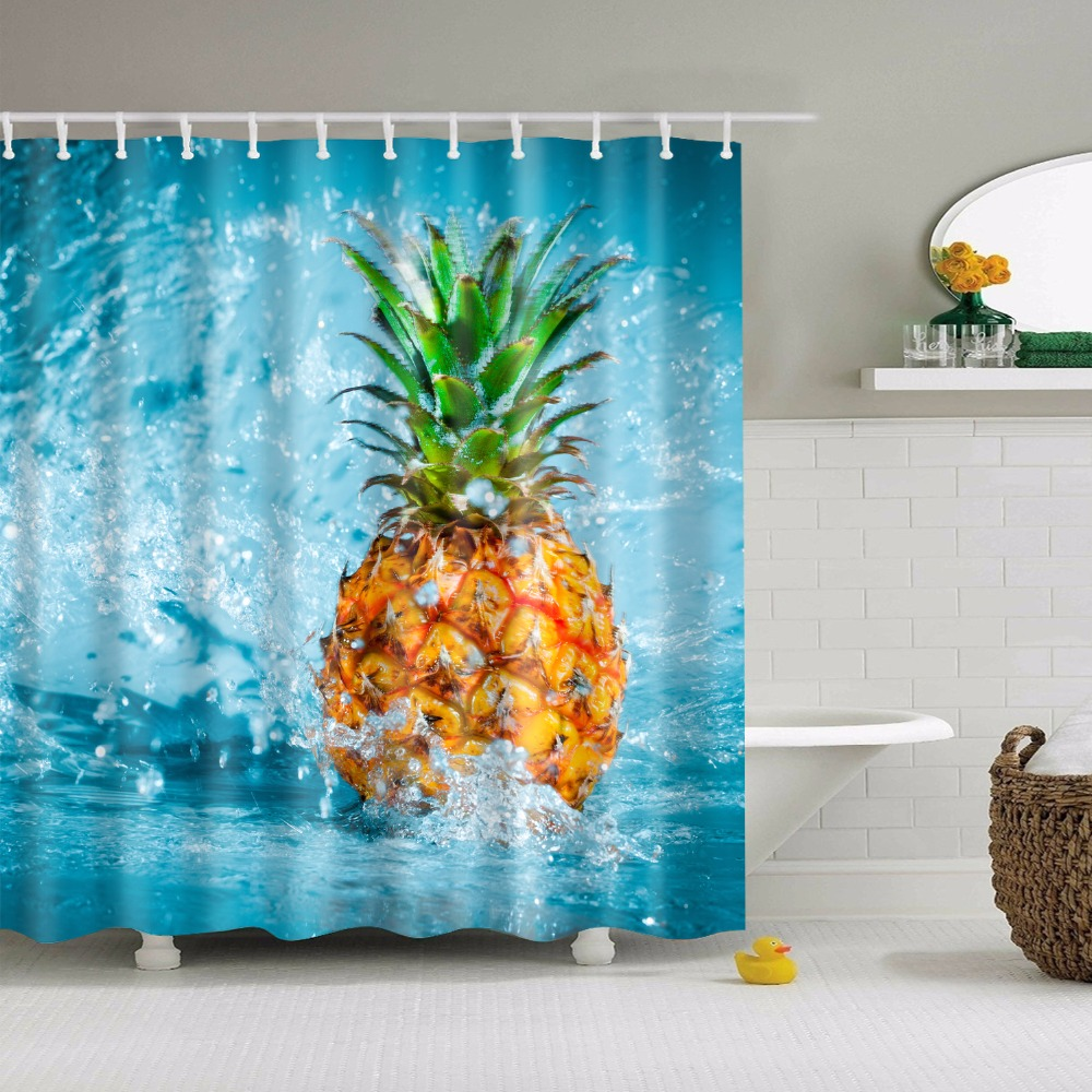 Papa&Mima yellow Pineapple Printed Waterproof Shower Curtains Polyester Bathroom Curtains With Hooks 1.8*1.8m Decorative Bathtub