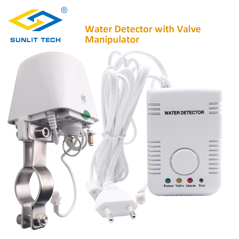 Russian Home Smart Water Leak Detector Alarm System With Automatical Shut Off DN15 Manipulator Valve Water Flood Leakage Sensor