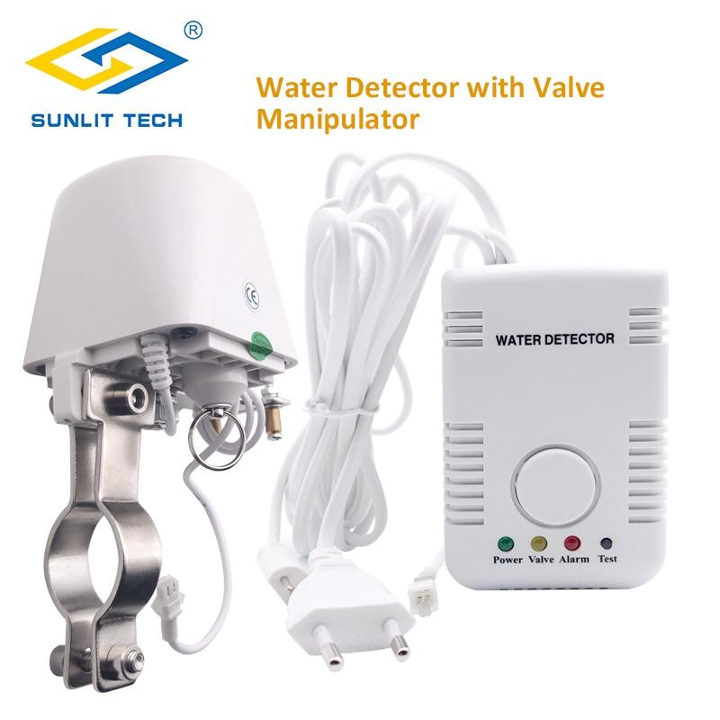 Russian/Ukraine Water Leakage Sensor Alarm Kit With Automatical Shut Off DN15 Manipulator Valve For Smart Home Water Overflow