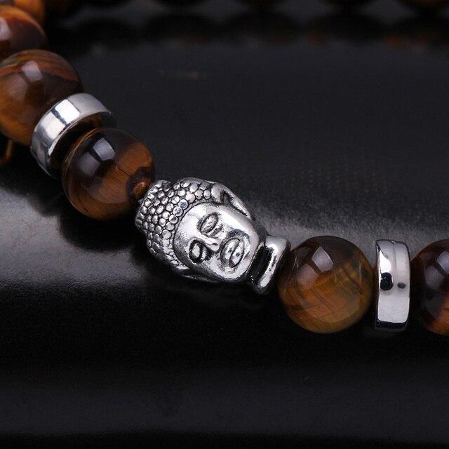 0ff6cb259bf5 ... Lava negro cuentas buda pulsera pulsera elástica cuerda cadena de  joyería de piedra Natural Ojo De Tigre para Neutral. Previous. Next