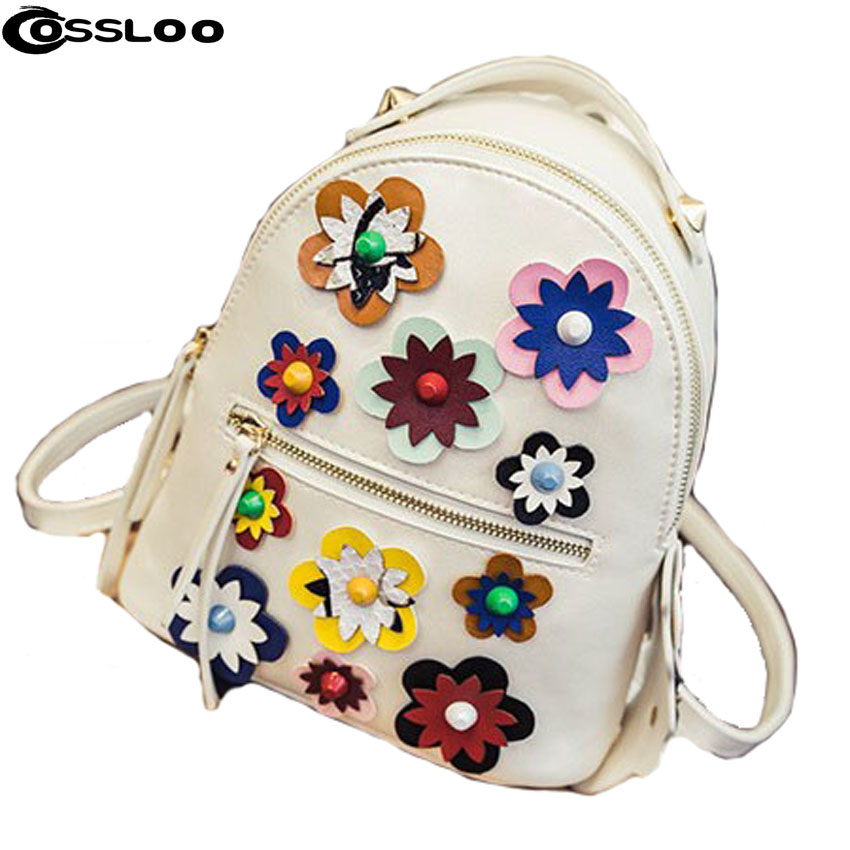 COSSLOO NEW Fashion Women Backpacks Small Pu Leather Women Printing Flower Backpack Famous Brand Design Mini Travel School Bags