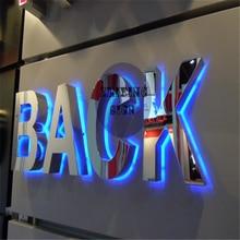 Заводской магазин Наружные Вывески из нержавеющей стали с подсветкой, светодиодный вывески с подсветкой для магазина, ресторана и кофейни