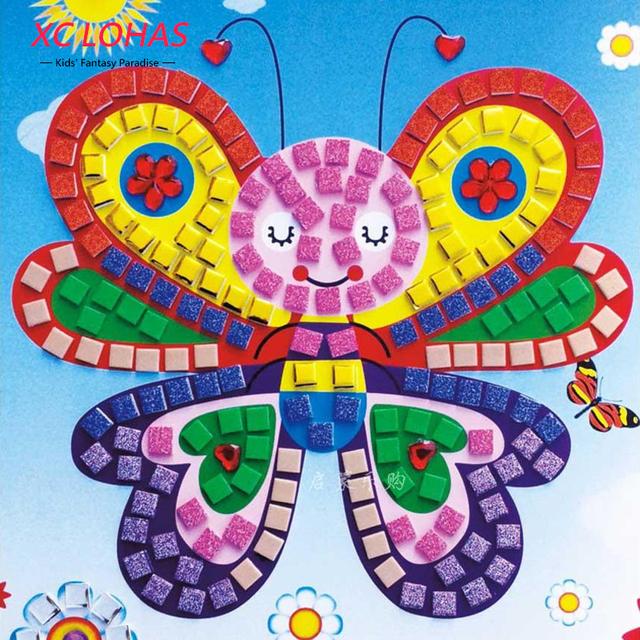 12 Colors 3D Children Puzzle  DIY Foam Mosaic Stickers Art EVA Cartoon Crystal 3D Sticker Creative Educational Toys For Kids