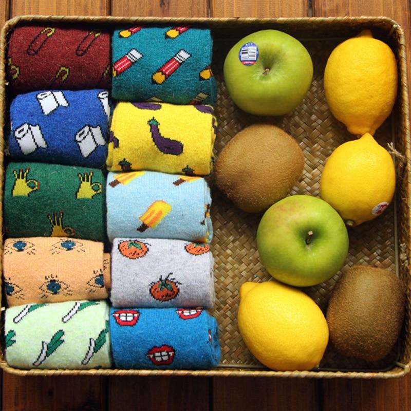 [COCOTEKK]Spring Autumn Winter Women Rabbit Wool   Socks   Cute Sweet Food Fruit Vegetable Cotton Short   Socks   For Girl Female Lady