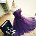 2017 Новый Line Без Бретелек Плиссированные Фиолетовый Тюль Короткие Пром Dress с Поясом Элегантный Формальное Партия Dress Платье De Festa