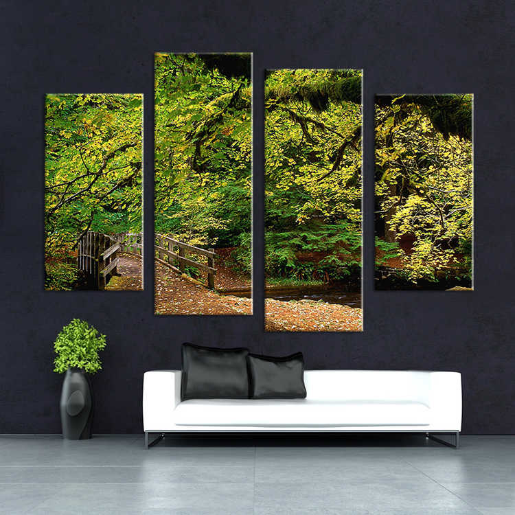 4 Pcs Nature Tree On Briage Landscape Wall Painting Print On Canvas For Home Decor Ideas Paints On Wall Pictures Art No Framed Painting Tree Picture Treetree Landscape Painting Aliexpress
