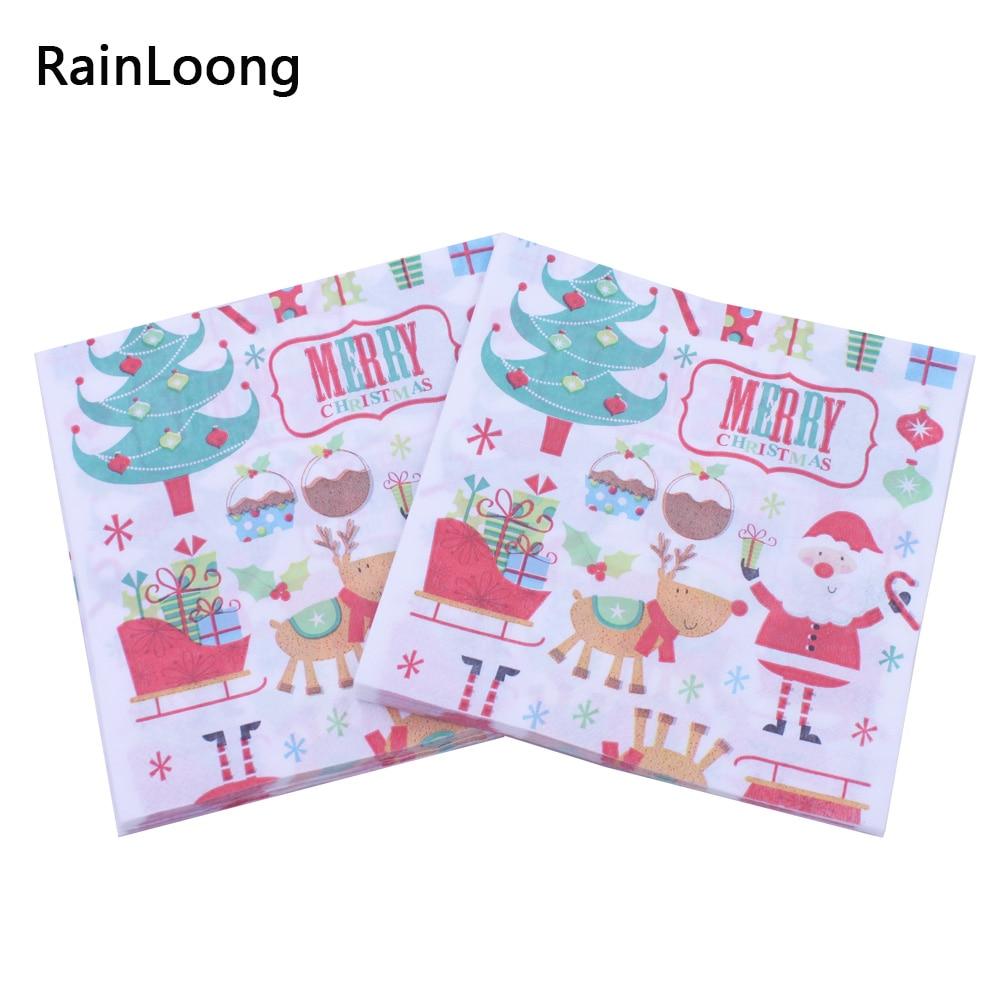 [RainLoong] Christmas Santa Paper Napkins Tissue Serviettes For Christmas Party Decoration Decoupage 33*33cm 20pcs/pack/lot