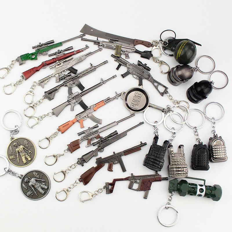 Sıcak oyun PUBG 98K AWM M24 tüm tüfek modeli Action Figure anahtarlık Playerunknown's Battlegrounds alaşım zırh anahtarlık cosplay oyuncak