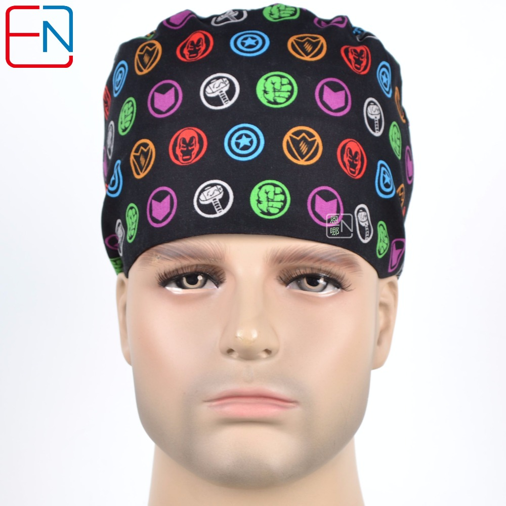 New Surgical Caps Medical Newly Surgical Scrub Caps   For Men Women With Sweatband 100% Cotton Medical Caps Printed Unisex