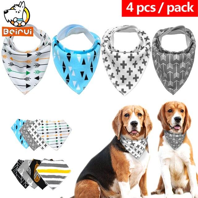 4 pz Bandana per Cani Gatti Cani Sciarpa Bib Cotone Pet Grooming Accessori Fasci