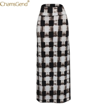 High Waist Checkered Printed Beach Summer Skirts Womens Printed Skirts Womens Long Skirts Womens Maxi Skirt Polyester May cheap CHAMSGEND A-Line NONE empire Solid Casual Ankle-Length skirts womens plus size skirts womens woolen pleated skirt set girl