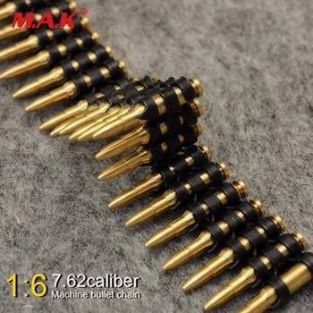 1/6 ölçekli 7.62 kalibreli 50 PC metal makinesi mermi zincir oyuncaklar için 12