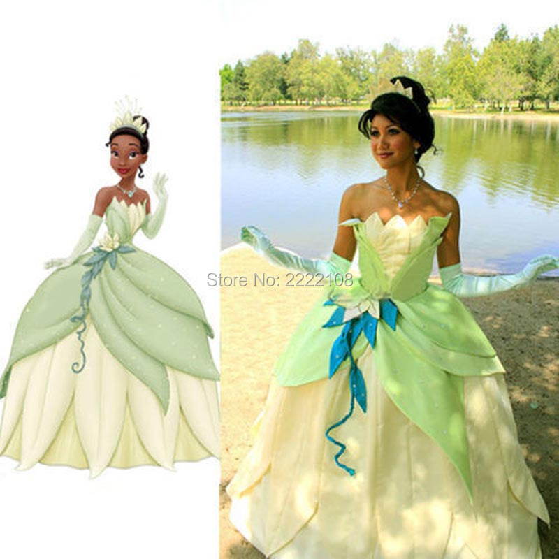 New 2018 Custome Made Fantasia Halloween Women Wedding Party Cosplay the Frog Princess Tiana Dress princess tiana adult costume