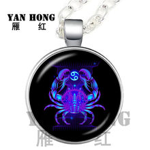 2018 New Fashion Galaxy 12 Constellation Design Zodiac Drawing Horoscope Astrology Hanger Chain for Women Men Glass Cabochon(China)