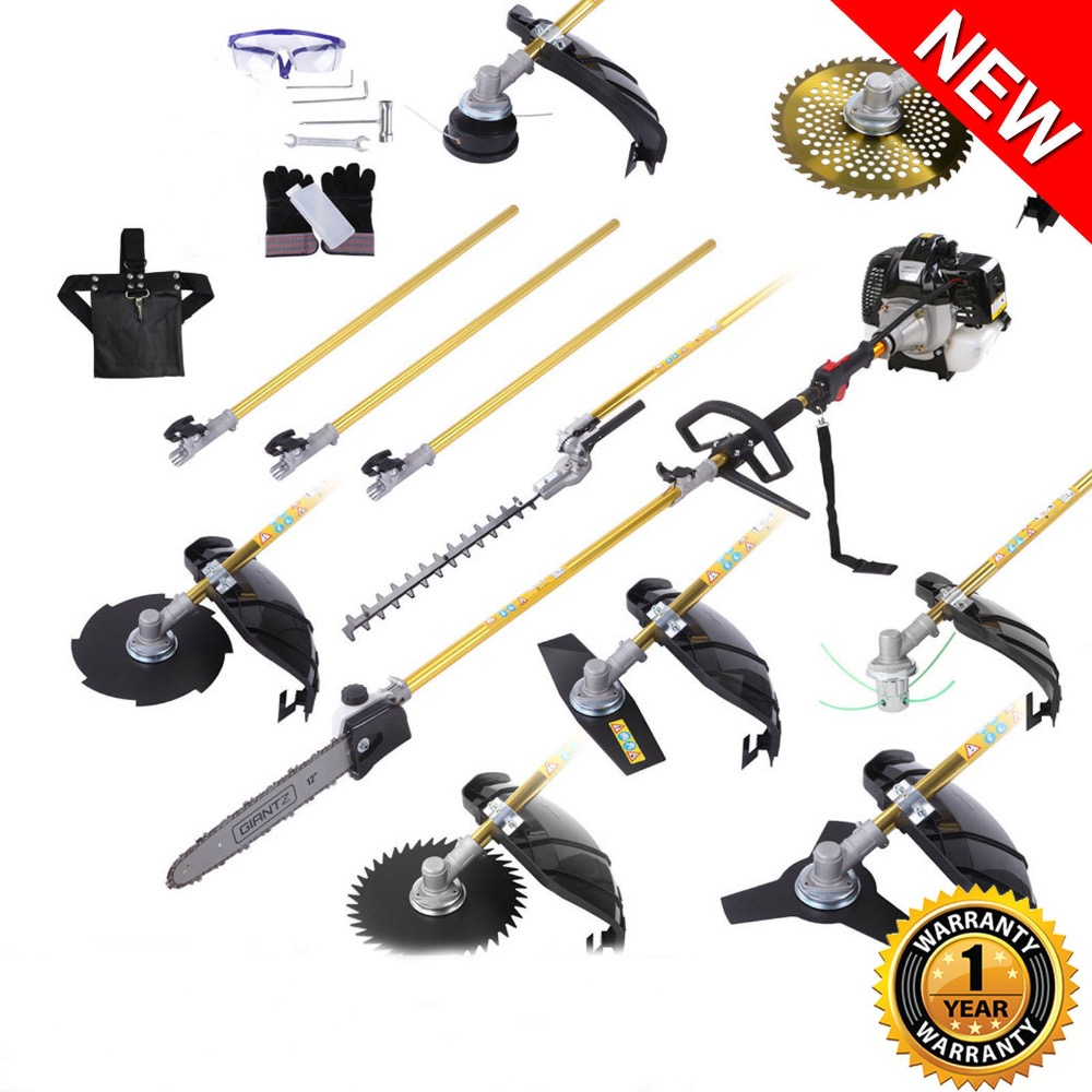 Multi 52cc 12 In 1 Petrol Pole Chainsaw Hedge Trimmer Whipper Snipper Pruner lawn mower
