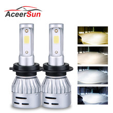Aceersun Mini H4 H7 LED H7 H4 3000K 4300K 6500K 8000K Car Headlight bulb 12V 72W COB 8000LM H1 H8 H11 9005 9006 hb3 hb4 Hi Lo(China)