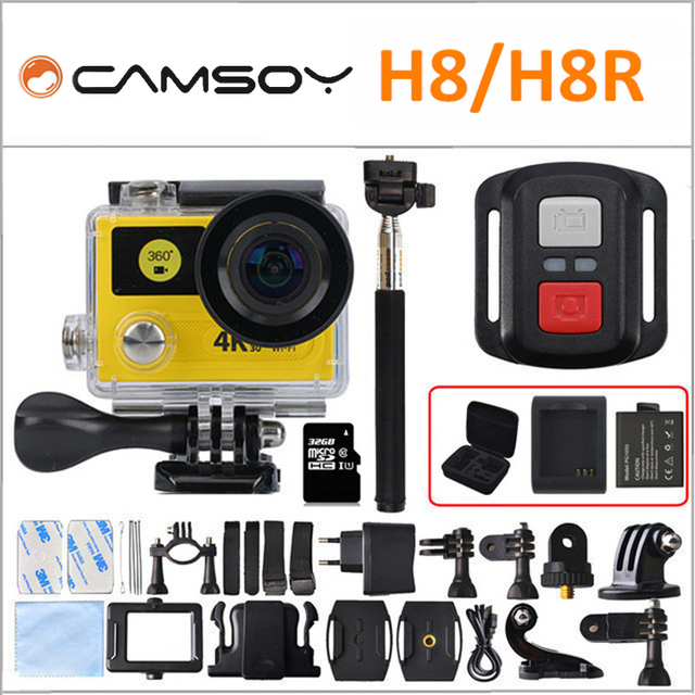 "Ultra HD 4 K WIFI Esporte Action Camera H8R/H8 com controle remoto Dual Screen de 2 ""LCD À Prova D' Água Capacete VR360 Camcorder DVR"