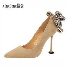 XingDeng Flock Rhinestone pajarita tacones altos bombea los zapatos de  señora niñas talones vestido de boda Stilettos punta estr. dc5e1f60ee60