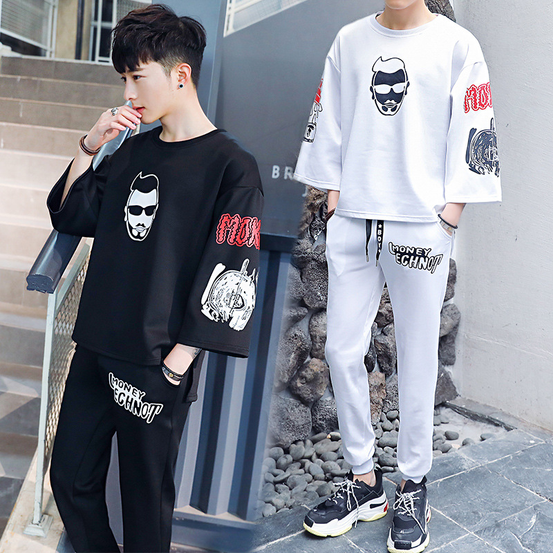 Soup Dream2018 New Spring And Summer Sleeves Students Korean Version Of The Trend Of Loose Fashion Skulls Hoodies Gloria+ Jeans.