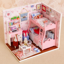 DIY Model Miniature Dollhouse With Furnitures LED 3D Wooden House Toys Handmade Crafts Birthday Gifts For Children H012 #E недорого