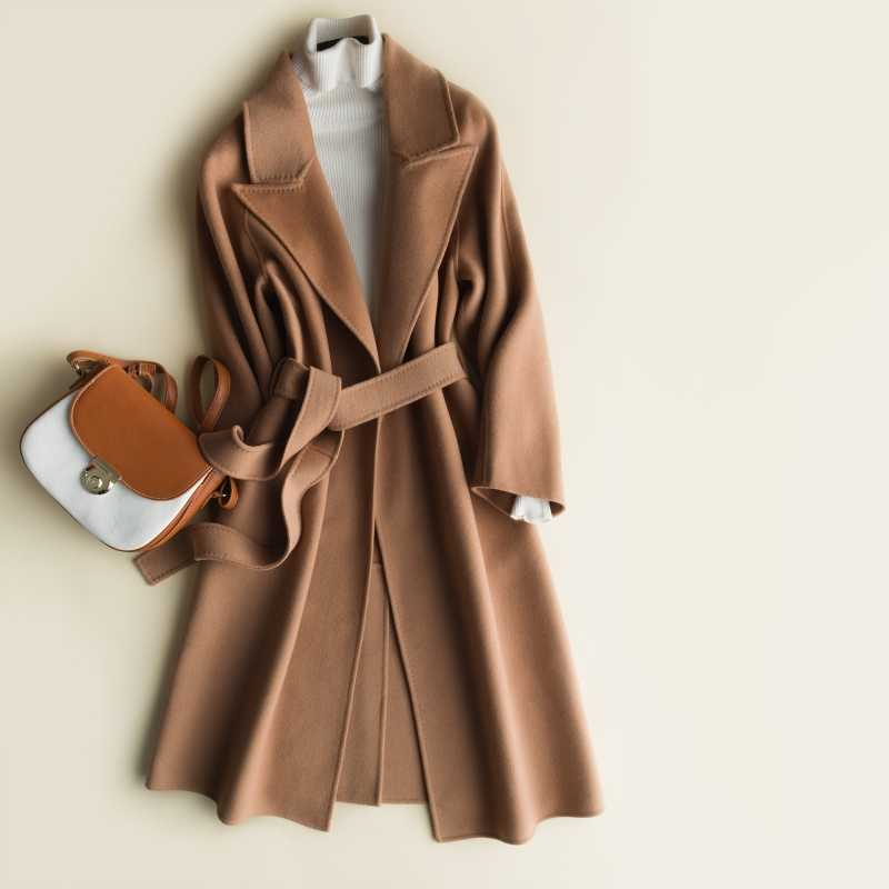 JECH Winter Autumn Long Women Cashmere Wool Vintage Coats Jacket with Belt Female Casual V-Neck Wool Warm Coat Coats Dress