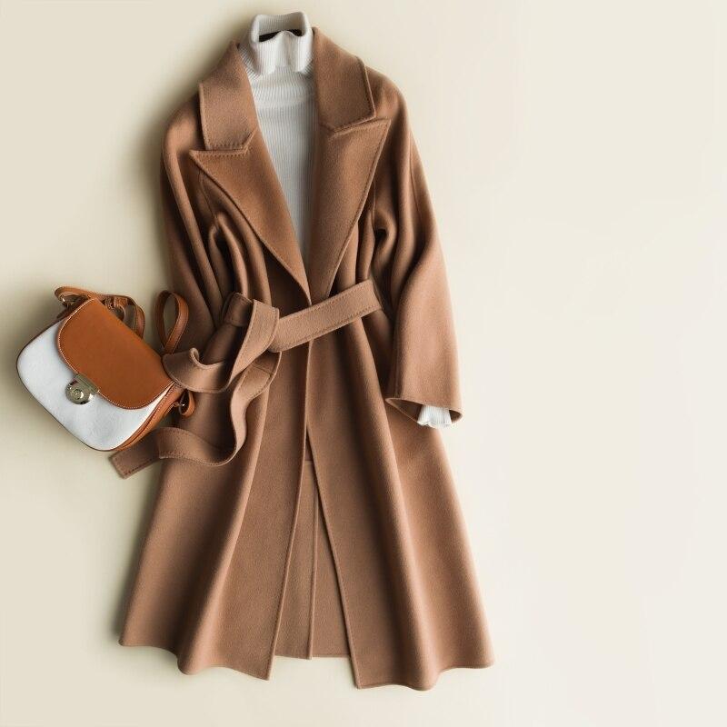JECH Hiver Automne Longues Femmes Cachemire Laine Vintage Manteaux Veste avec Ceinture Femme Casual Col V En Laine Manteau Chaud Manteaux Robe