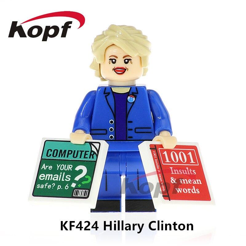 Один продажа Super Heroes Дональд Трамп Хиллари Клинтон Popeye Mr. Bean Фредди Меркьюри строительные блоки Детский подарок игрушки KF8029
