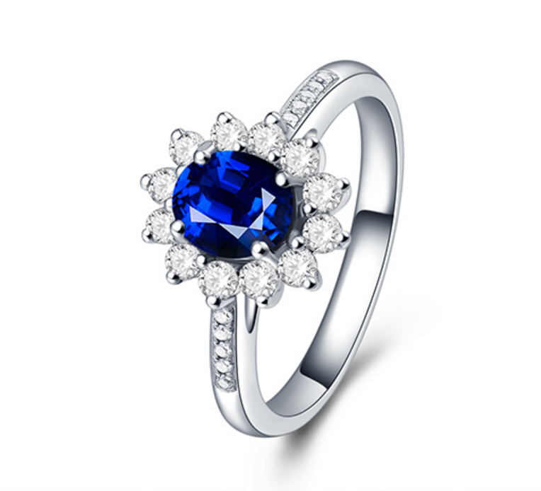 1 carat 925 sterling silver sapphire flower synthetic diamond ring tanzanite jewelry for women US size from 4.5 to 9(LA)